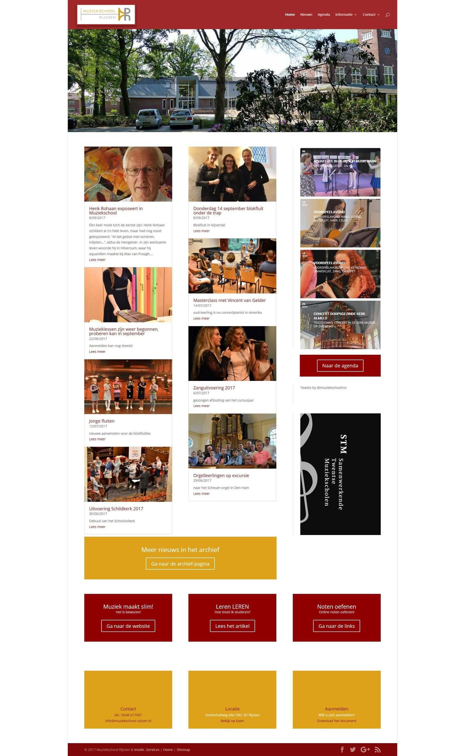 Afbeelding Homepagina website Muziekschool Rijssen