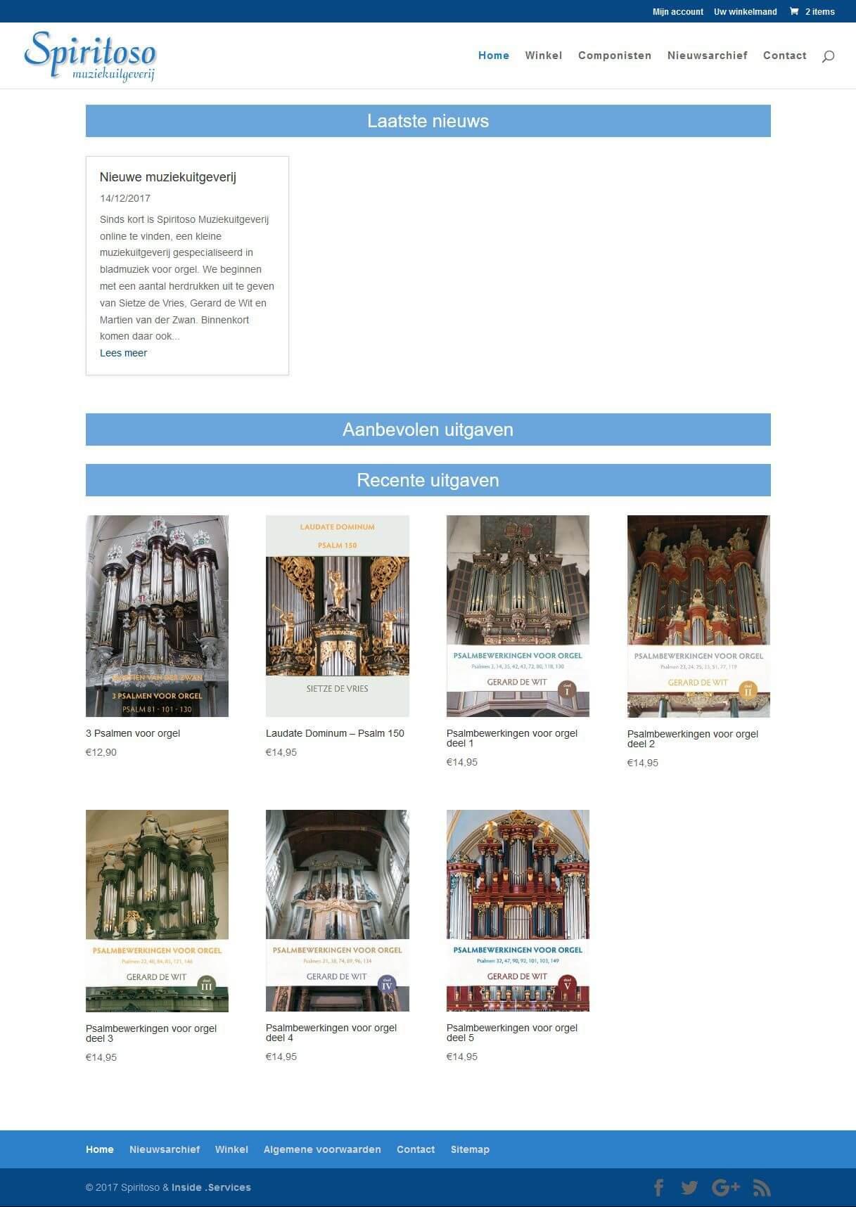 Afbeelding website Spiritoso Muziekuitgeverij
