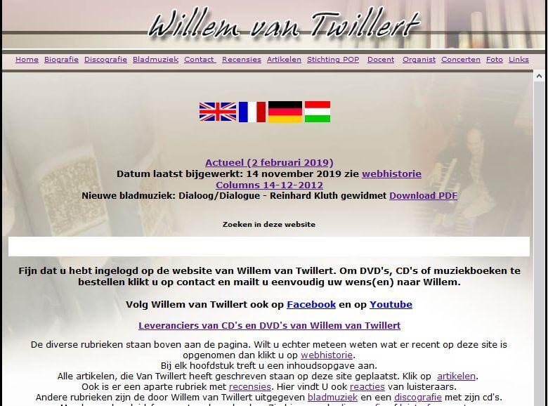 Afbeelding huidige website Willem van Twillert