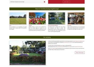 Afbeelding Volledige home-pagina website Familiecamping Vogelenzang