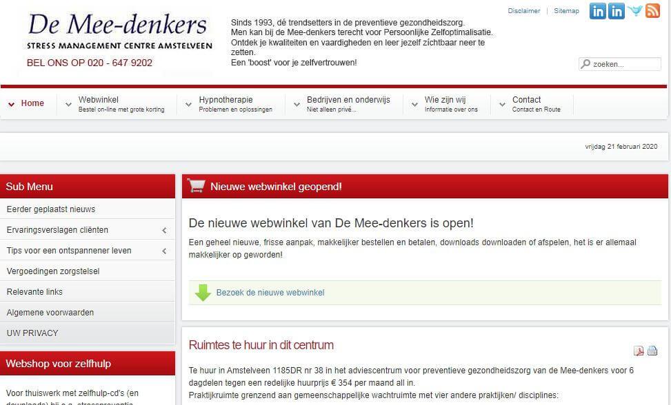 Afbeelding Oude website De Mee-denkers