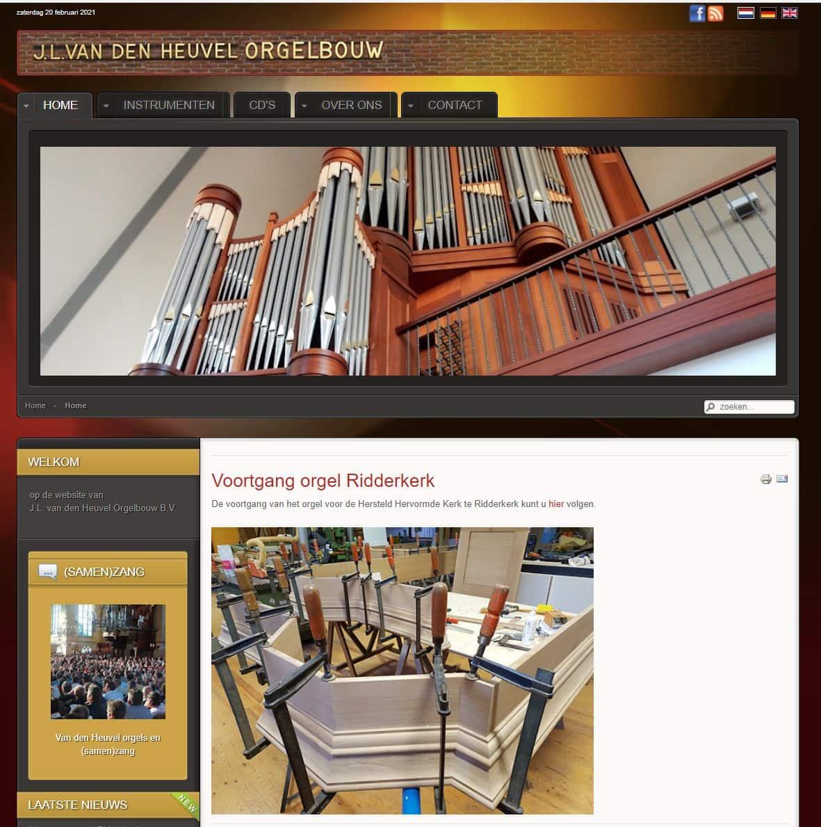 Afbeelding oude website Van den Heuvel Orgelbouw